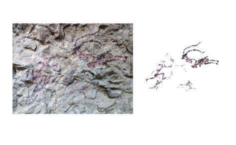 Escena de cacera d'una cabra salvatge (fotografia i calc)